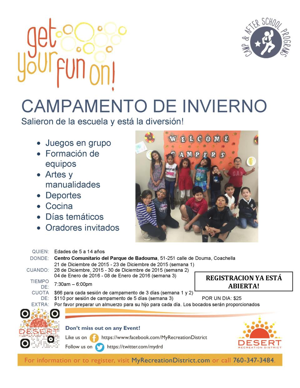 Winter Camp Flyer - Spanish