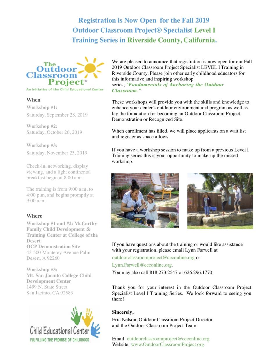 LEVEL I Outdoor Classroom Project Specialist Training Series  Fall 2019